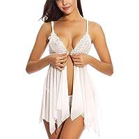 SEDEX Babydoll Lingerie Sexy Intimo Donna Biancheria Intima Confortevole Stile-Anteriore Aperto Grande Size Pizzo Lace Lingerie Trasparente Aperto G-Stringa