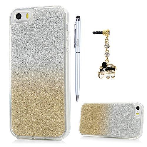 Cover iPhone SE, Custodia 5S Silicone con Bling Glitter Brillanti Morbida TPU Flessibile Gomma - MAXFE.CO Case Ultra Sottile Cassa Protettiva per iPhone 5/5S/SE - Oro
