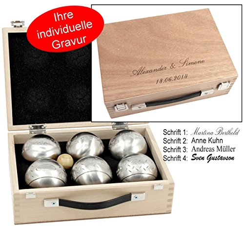 Obut K6, 6 Boule Kugeln MADE IN FRANCE, Geschenk Idee- Holzkoffer mit Gravur