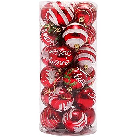 EOZY 24 Piezas Bolas de Navidad Bolas para Árbol de Navidad Rojo
