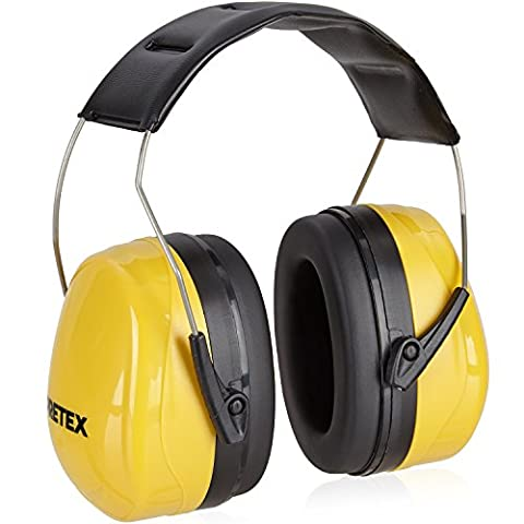 PRETEX Casque antibruit professionnel pour niveau sonore jusqu'à 98 dB avec haut confort grâce à un poids réduit et au serre-tête réglable et 2 ans de garantie satisfaction – protection auditive / protection des oreilles / protection sonore / protecteurs auditifs