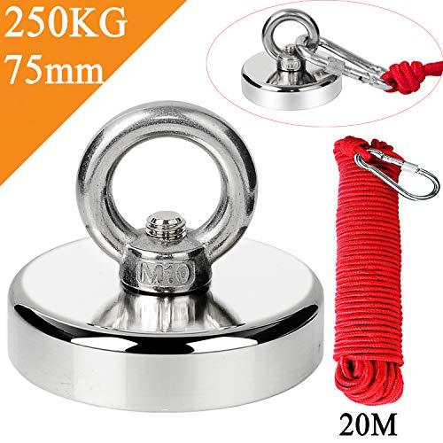 Uolor 250KG Haftkraft Neodym Ösenmagnet Magnete mit Seil (20M/66ft), N52 Super Stark Magnet Perfekt zum Magnet Angel Magnetfischen - Ø 75mm mit Öse Neodymium Topfmagnet -