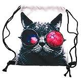 ocona© Galaxy Cat Turnbeutel Katze Animalprint Sportbeutel Rucksack Gymsack Jutetasche Stringbag Hipster Sack Umhängetasche, weiß - 6