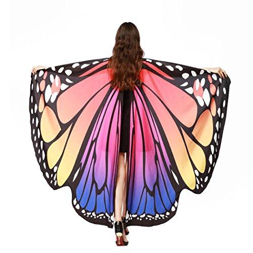 Overdose Frauen 197*125CM Weiche Gewebe Schmetterlings Flügel Schal feenhafte Damen Nymphe Pixie Kostüm Zusatz (197*125CM, B-Hot Pink (Nymphe Kostüme Flügel)