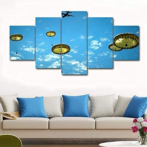 adgkitb canvas Hd Prints Modern Home Decor 5 Stück Fünf Fallschirmjäger Himmel Gerahmte Leinwand Poster Versand 24 Stunden KEIN Rahmen