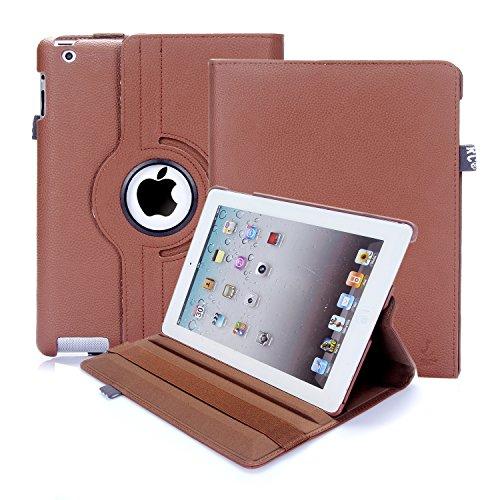 Custodia per iPad 2/3/4, RC copertina con Rotazione a 360 gradi Custodia in Pelle PU per Apple iPad 2 3 4 con Smart Cover (Marrone)