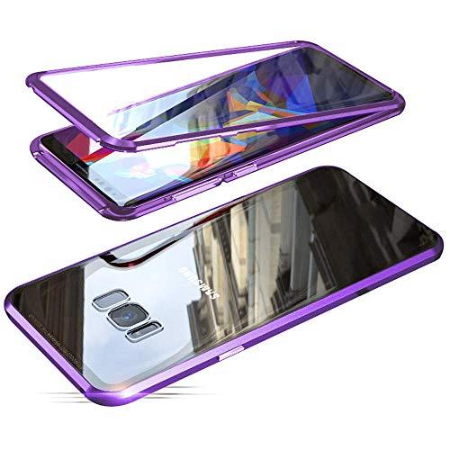 ALOIZ Handyhülle für Samsung Galaxy S8, Magnetische Adsorption Metall Stoßstange Flip Cover mit 360 Grad Schutz Doppelte Seiten Transparent Gehärtetes Glas Purple - Komplett Gepolstert Metallrahmen