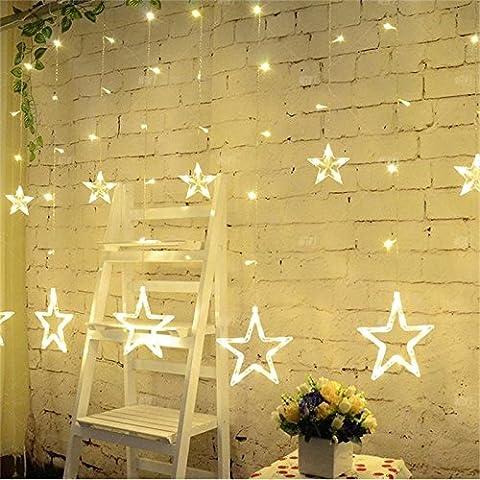 British Standard Lumières de Rideaux 12 Étoiles Ulinek(TM) Noël Guirlandes Lumineuses Eclairage 2M 138 Ampoules, Forme d'étoile, Leds Rideaux de Lumières, 8 Modes de Fonctionnement pour Noël, Fête, Vacances, Mariages, Fenêtres, Rideaux IP44 [Warm White Blanc chaud]