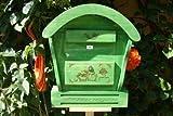 XXL HBK-RD-GRASGRÜN Briefkasten mit Holz - Deko aus Holz grasgrün grün dunkelgrün tannengrün waldgrün Briefkästen Holzbriefkästen Postkasten Runddach mit echt Holzschindel ausgefallen mit Holzdach für Garten Garage Einfahrt Holzhäuser Holzhaus