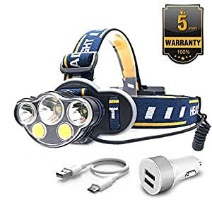 Lightweight 1 Pack Head Torch Xndryan Ultra Bright COB LED Torches