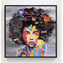 Raybre Art® 60 x 60cm Impresión sobre Lienzo sin marco - Mujeres India Africanas con ojos abiertos - Cuadro Abstractos Modernos Colores Pintura al óleo para Arte Pared Decoración Hogar Sala