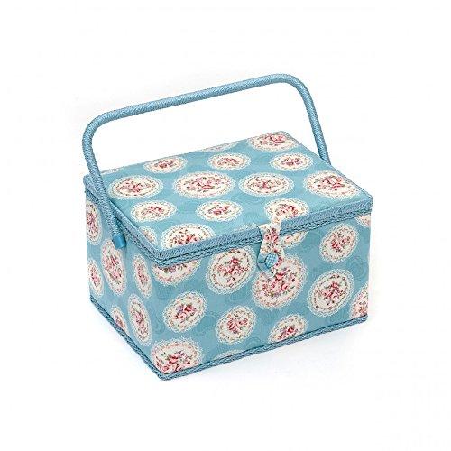 Premium Boîte à couture Motif camée Panier de rangement Motif Floral Bleu