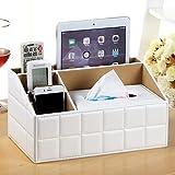 suuyar Creative Household Appliances Box di Asciugamani di Carta Multifunzionale Scatola di Contenitori di Raccolta per Il Controllo Remoto del Desktop, Reticolo Classico Trapezoidale Bianco