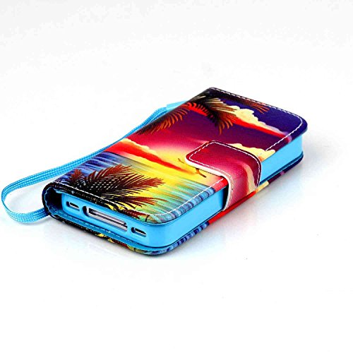 Owbb Bookstyle Housse Coque de protection en PU cuir pour iPhone 4 / 4S / 4G Smartphone-étoile Color 07