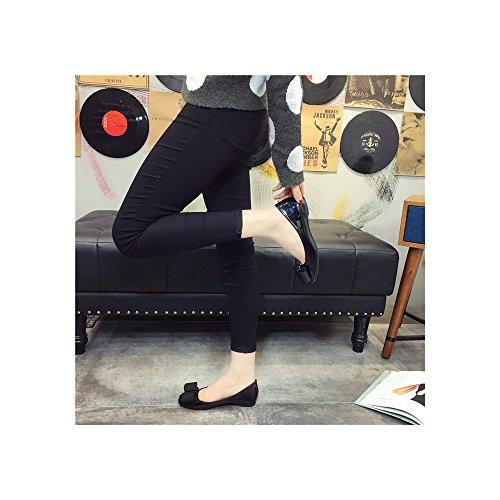Femme Ballerines Tete Carree En PU Talon Interieur Bas Mode Elegant Noir