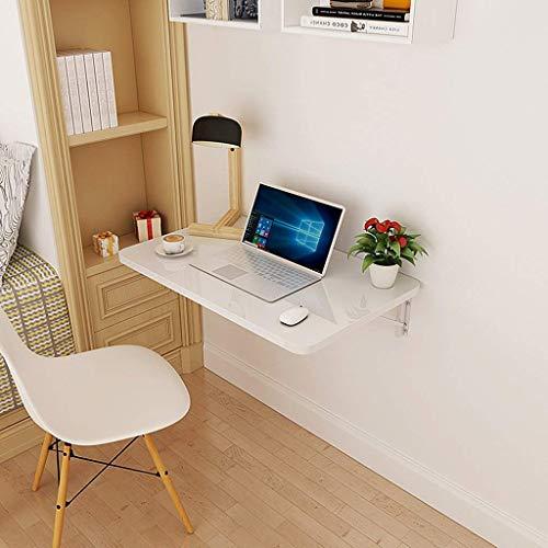 Laptop Desk Home Faltbarer an der Wand befestigter Laptop-Tisch ausklappbarer Esstisch für kleinen Raum Weißes Holz-basiertes Panel Home-Office-Computer-Schreibtisch (Size : 80 x 50cm) (Räume Für Esstisch Kleine)