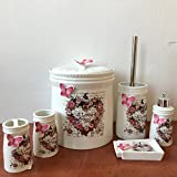 6 tlg WC Bad Garnitur Porzellan Badset Zahnputzbecher Herz Verzierung 505P-01