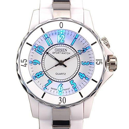 OHSEN Sportuhren weiß Farbe Damen Quarz Armbanduhr mit 8Farbe LED