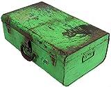 Guru-Shop Alter Blechkoffer Antiker Metallkoffer, Antik-grün, 20x55x33 cm, Truhen, Kisten, Koffer