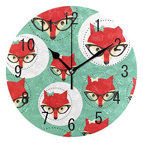 Domoko Home Decor Hipster Rot Fox Gesicht mit Brille Rund Acryl Wanduhr Geräuschlos Silent Uhr Kunst für Wohnzimmer Küche Schlafzimmer