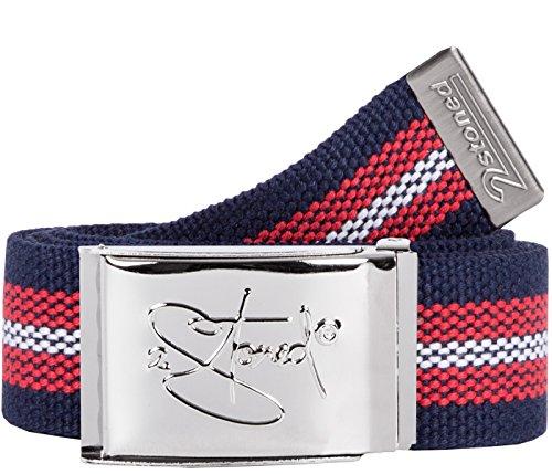 2Stoned Gürtel Canvas Belt Navy-Rot-Weiß, Chromschnalle Classic, 4 cm breit, für Damen und Herren
