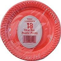 18 piatti di carta per feste, in plastica, colore: rosso, 18 cm, consegna gratuita - Piatti Di Plastica Tovaglioli