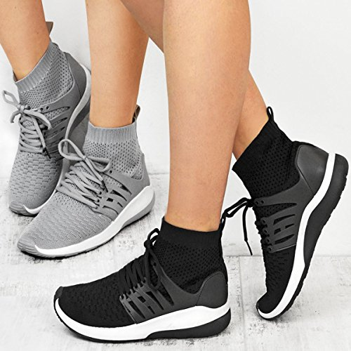 Fashion Thirsty Baskets Montantes Effet Chaussettes - Tissé - Style Sportif - Femme