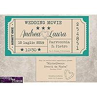 Partecipazioni matrimonio personalizzate - inviti nozze biglietto del cinema vintage 10 pezzi
