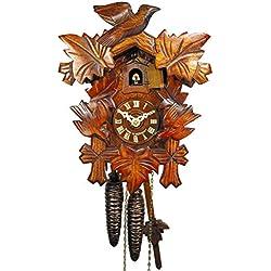 Schwarzwälder Kuckucks-Uhr/Schwarzwald-Uhr (original, zertifiziert), 1-Tag-Werk, mechanisch, 5 Laub-Blätter, 3 Vogel, Kukusuhr, Kukuksuhr, Kuckuksuhr (schönes Weihnachts-Geschenk)