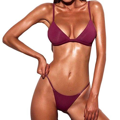 TPulling Damen Sommer Soft Cup﹛Einfarbig Bandage-BH﹜Triangle Bikini﹛Einteiliger Split Badeanzug Tankini﹜Druckes Bademode Push-up Schmetterling Pareos Strandkleider (Wein, M=34A/34B)