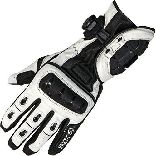 1011573110020 - Knox Nexos Leather Motorcycle Gloves S Whit