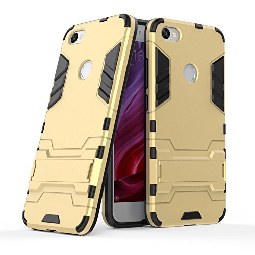 MaiJin Funda para Xiaomi Redmi Note 5A (5,5 Pulgadas) 2 en 1 Híbrida Rugged Armor Case Choque Absorción Protección Dual Layer Bumper Carcasa con Pata de Cabra (Dorado)