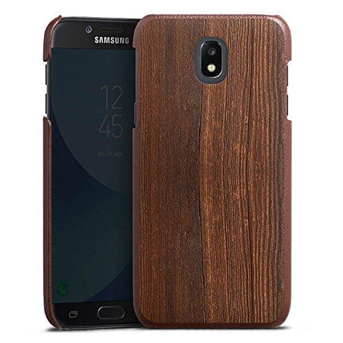 Samsung Galaxy J3 2017 Lederhülle braun Leder Case Leder Handyhülle Nussbaum Holz Look (Braun Nussbaum-leder)