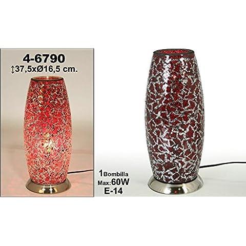DonRegaloWeb - Lámpara de sobremesa de cristal craquelado con forma alargada en color rojo
