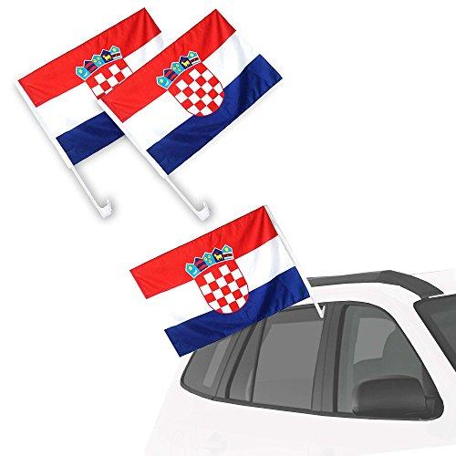 Autofahne Autoflagge 2 Stück Fanartikel EM & WM 2er Set Kroatien