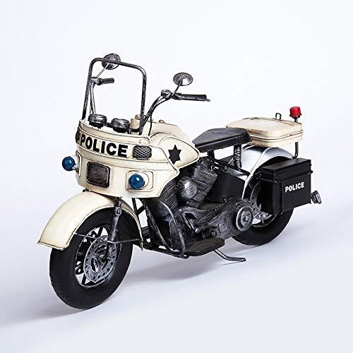 Ludage Wohnaccessoires Handwerk, Alte Heimat Ornamente Polizei Auto Motorrad Modell Bar Café Ornament 39,5 * 17,5 * 25 cm (Polizei-statue)