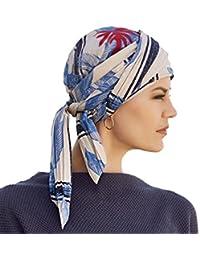 Pañuelo de algodón fruncido Joli beige estampado con plumas azules y hoja roja en terciopelo
