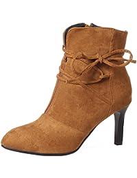 VogueZone009 Damen Stiletto Nubukleder Schleife Reißverschluss Stiefel, Rot, 35