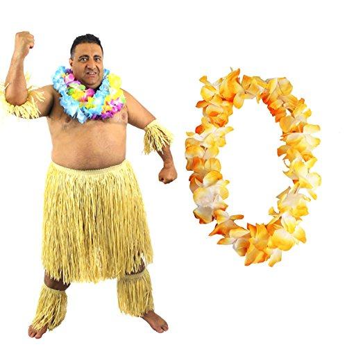 Kostüm Hawaiianer - ILOVEFANCYDRESS Hawaiianer SÜDSEE Zulu KÄMPFER KOSTÜM VERKLEIDUNG=6 TEILIG=1 ORANGE LEI/BLUMENKETTE+2 Bein Stulpen+2 ARM Stulpen+BASTROCK= HÜFTUMFANG UNGEFÄR -81-142cm+LÄNGE UNGEFÄHR - 58cm
