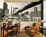 Mural PapelPintado TelaNoTejidaPanorámica En Blanco Y Negro De La Ciudad De Nueva York Noche Mural Fondo De Pantalla Tv Fondo De Pantalla En 3D Papel De Vinilo Vintage, 350 * 245 Cm