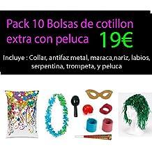 Pack 10 bolsas cotillon extra con peluca