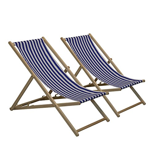 Harbour housewares sedia a sdraio tradizionale, regolabile, da giardino/stile spiaggia, a righe blu/bianche - set da 2