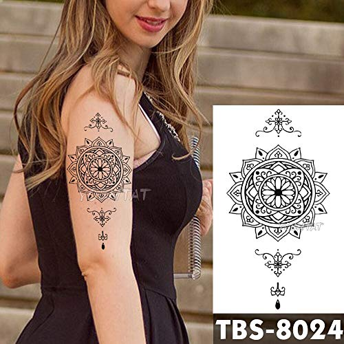Tzxdbh 12x19 cm impermeabile tatuaggi temporanei pizzo loto flash tattoo sticker minimalista tribale totem tatoo braccio fai da te falso