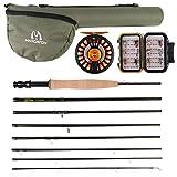 MAXIMUMCATCH Alltime Reiserute für Fliegenfischen 8 Teile 9ft Fliegenrute mit Cordura Rohr in 5/6/8 wt (9' 8wt Combo)