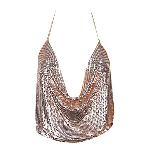 Butterme Damen Sexy Deep V Kette Halter Ärmellos Backless Metall Weste Sequin Crop Top Club Wear (Rose Gold) -
