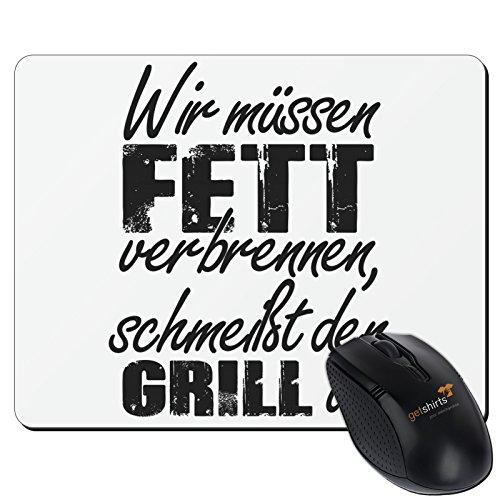 Preisvergleich Produktbild getshirts - SizzleBrothers Merchandise Shop - Mousepad - SizzleBrothers - Grillen - Fett verbrennen - weiss uni