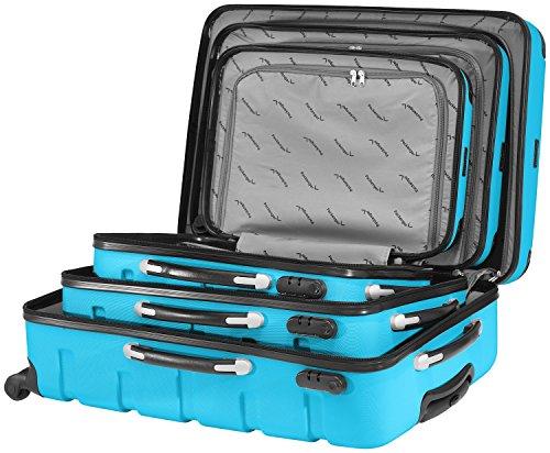 Packenger 3er Koffer-Set Marina Trolley-Set Hartschale (M, L & XL) in Blau/4 Gummi Rollen (360°)/Koffer mit Zahlenschloss/stabiler eleganter Alltags Rollkoffer & Reisekoffer/Material: ABS/Farbauswahl - 2
