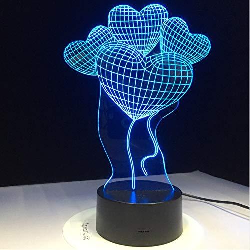 Zyyymx Kreatives Geschenk 3D Led Lampe Liebe Ballon Nachtlicht Mit 7 Farben Ändern Luminaria Beleuchtung Lava Lampe Valentinstag
