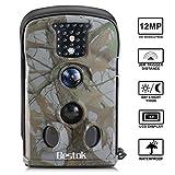 """Bestok Cámara de Caza 12MP HD para Vigilancia Invisible Camaras Trail Visión Nocturna Impermeable IR Leds 2,4"""" LCD Sensor de Movimiento para Fauna Seguridad Hogar Mascota Animal"""