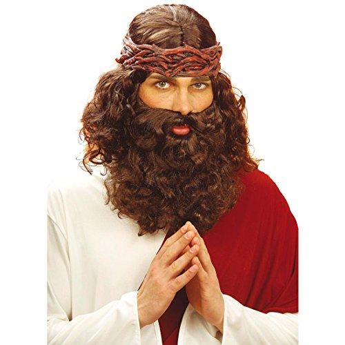 Prediger Perücke Jesus mit Bart Karneval Heiliger Gott Götter Jesusperücke Herrenperücke Männerperücke Fasnacht Fasnet